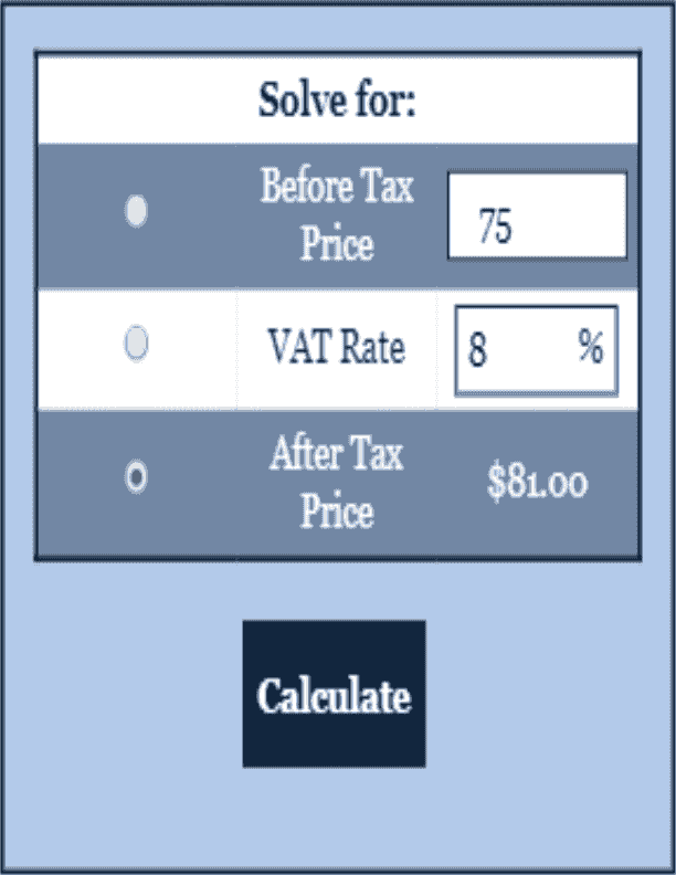 VAT Calculator Tax Calculator